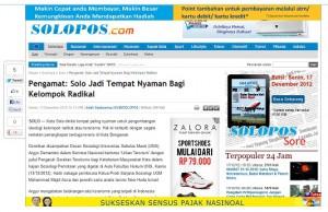Pengamat: Solo Jadi Tempat Nyaman Bagi Kelompok Radikal